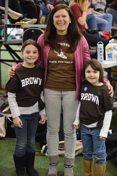 Olympic steeplechaser, Anna Willard '06, with Dan Grossman's granddaughters, whose mother Emily ran for Brown in the 1990s.