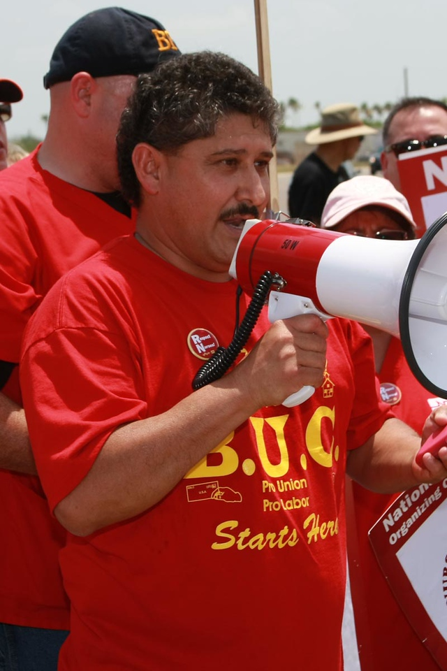 Marco Longoria, President of local 970 Brownsville firefighters and the Brownsville Union Council came out to give support to the 7
