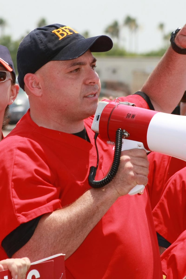 Carlos Elizondo RN was also representing local 970 Brownsville firefighters