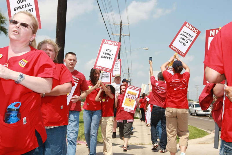 Picket line in front of Valley Regional Medical Center in Brownsville Tx on May 23, 2011 to protest the termination of 7 ICU nurses who refused unsafe staffing assignments