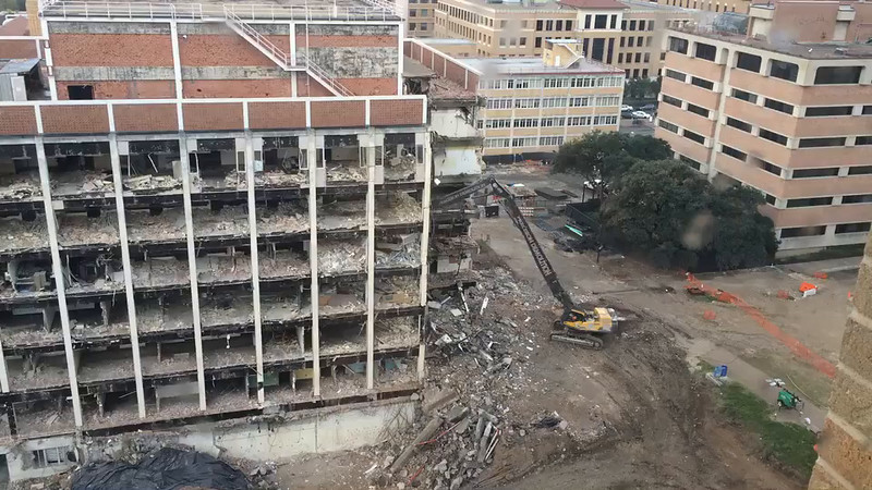 This is a compilation of a few different days of demolition.  The big roof fall happens at 4:08.