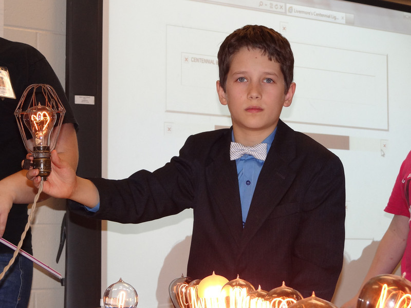Brian holding the Shelby Bulb in his class. A nice end of his light bulb report.