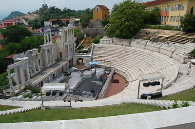 Plovdiv's Roman Amphitheatre, still in use today - here being ready for the evening's show, Riverdance......