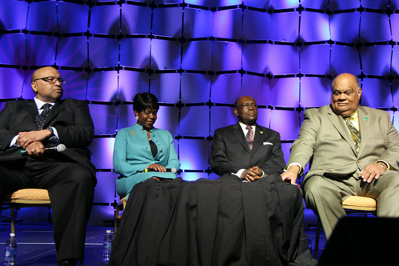 President Andrew Hugine, Jr., of Alabama A&M University (3rd, left) joined a distinguished group of panelists made up of higher education leaders at select HBCUs, including (l-r) Florida A&M University Law School, Florida A&M University and Norfolk State University.  The panelists discussed HBCU accomplishments and challenges.