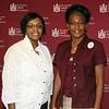 Alumni Affairs Director Sandra S. Stubbs and Alumni Affairs assistant Sibyl Moore await guests prior to the first of two hospitality receptions coordinated at the Rosen Plaza Hotel in Orlando during the recent MEAC-SWAC Challenge.