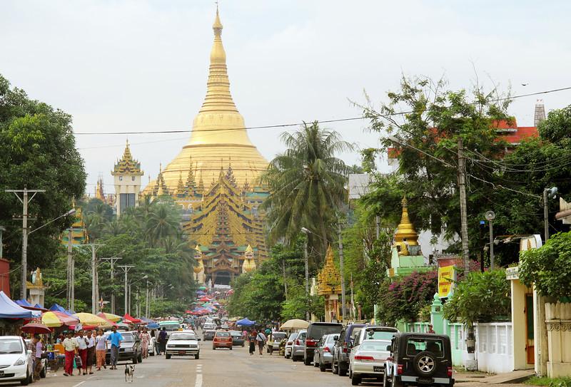 shwedagon pagoda, covered in gold leaf