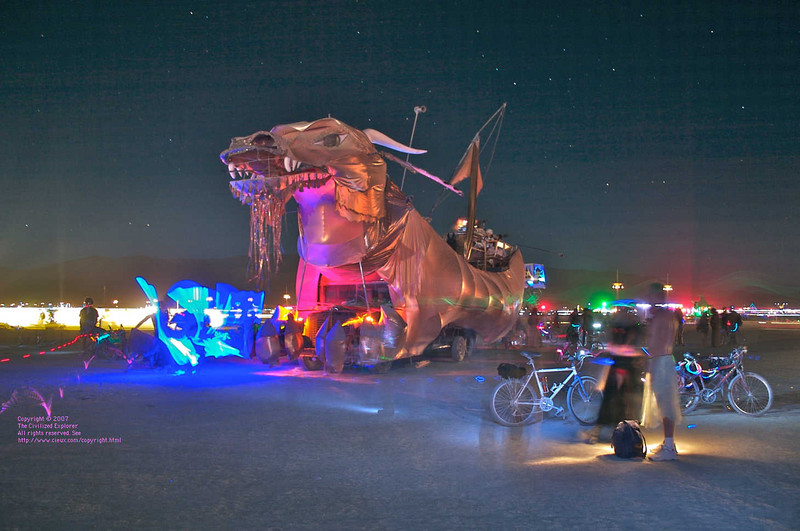 An excellent shot of the dragon art car.