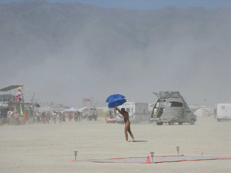 Performance art on a windy day.