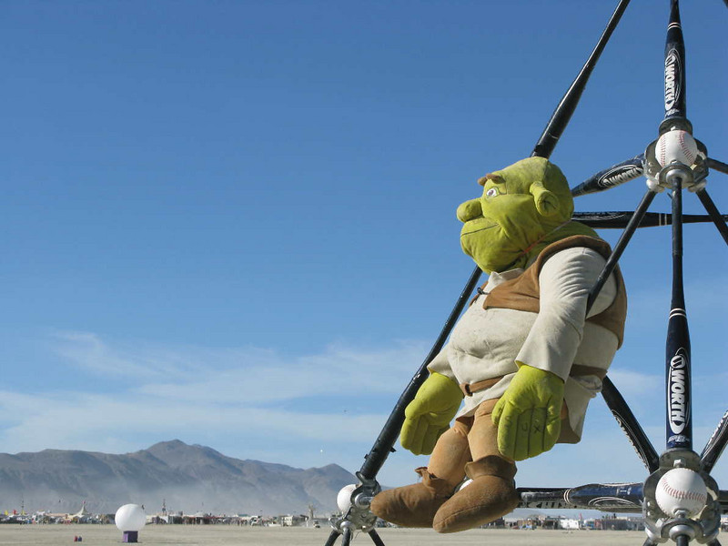 Shrek sits on Bat Country by Gwen Fisher and Paul Brown.