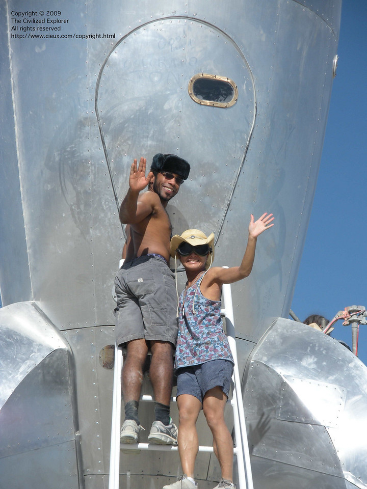 Posing with the Raygun Gothic Rocket.