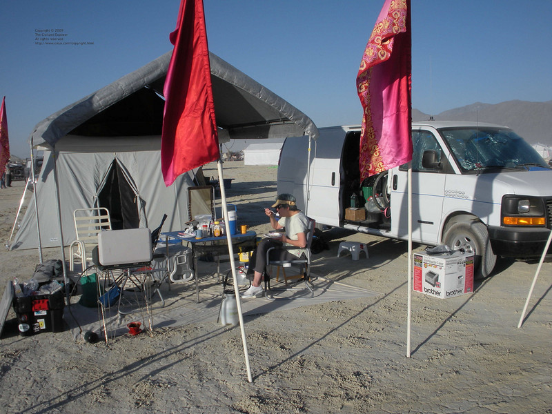 Our humble camp at breakfast time.