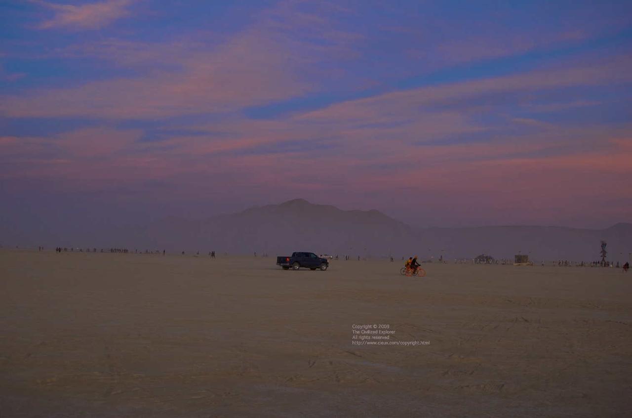 Dusk on the playa; the sun has just set.