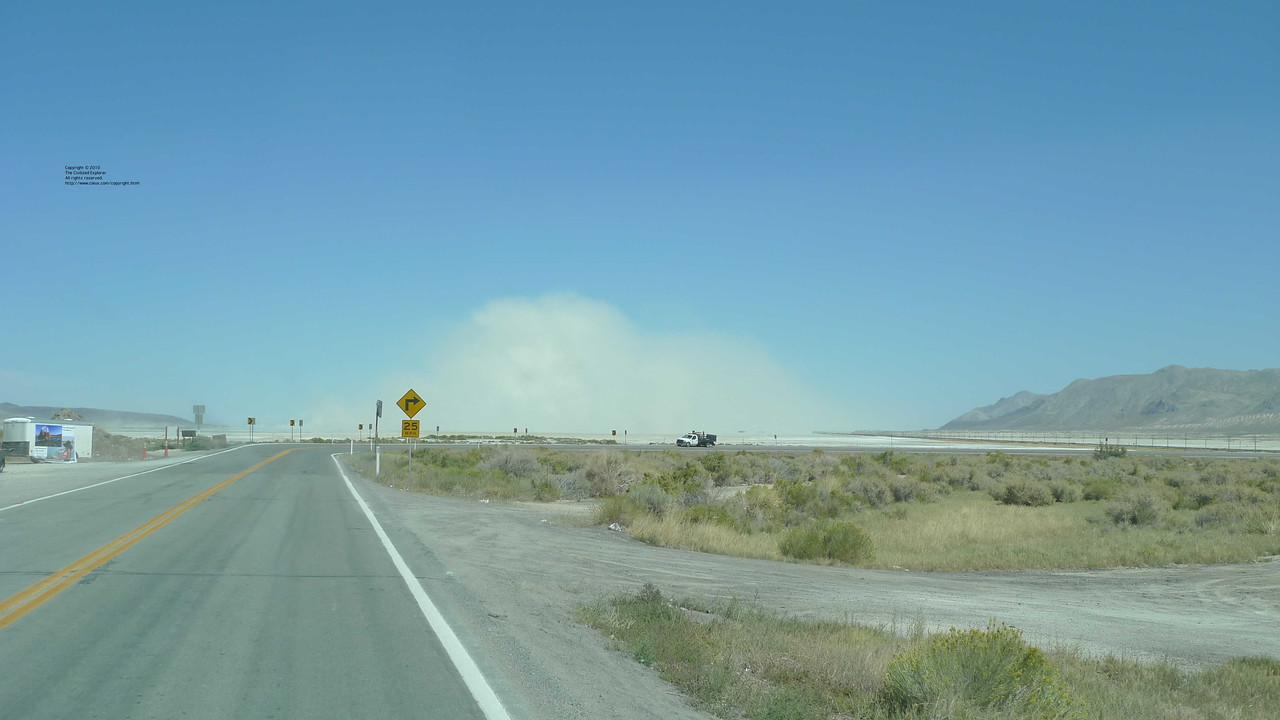 A view of the dust storm in Black Rock City from Gerlach.
