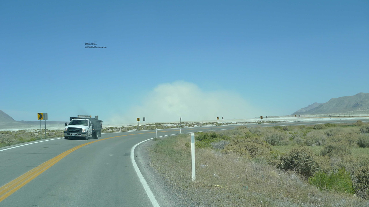 The dust storm over Black Rock City as we leave Gerlach.