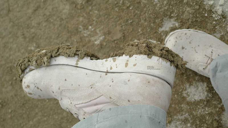 The mud continues to build up as you walk. It's incredibly sticky.