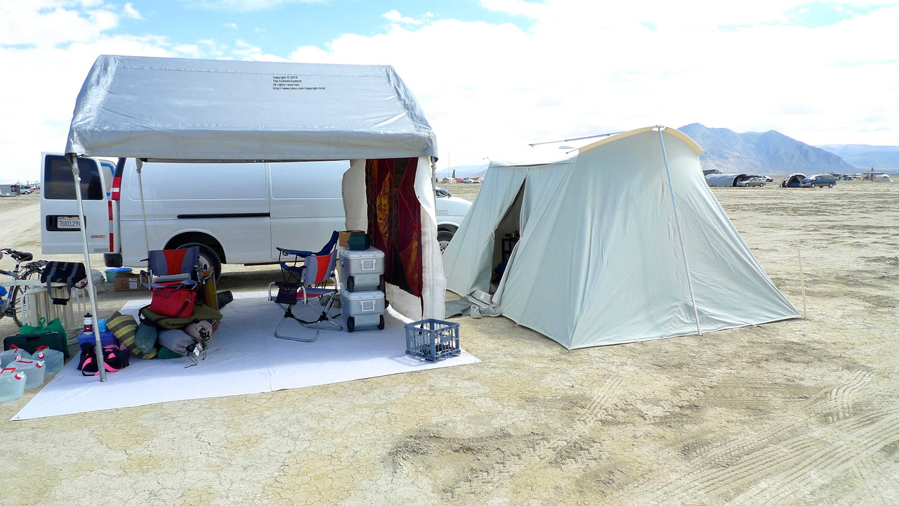 We set up camp Sunday morning before our neighbors arrived: our van, our shade, our tent (Springbar, by the way).