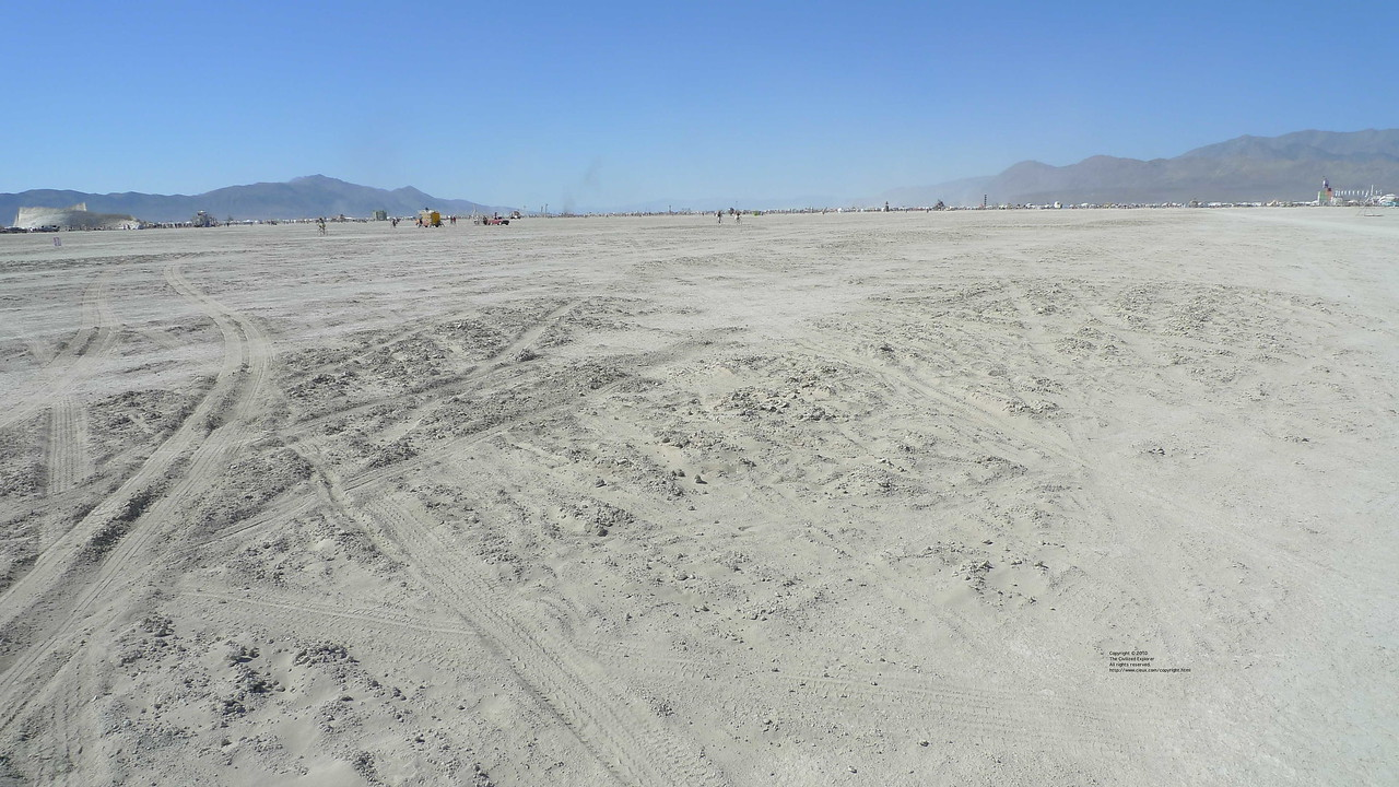 The playa surface was variable. Here's a bike trap you can't ride through.