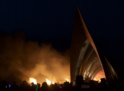 The Temple begins to burn