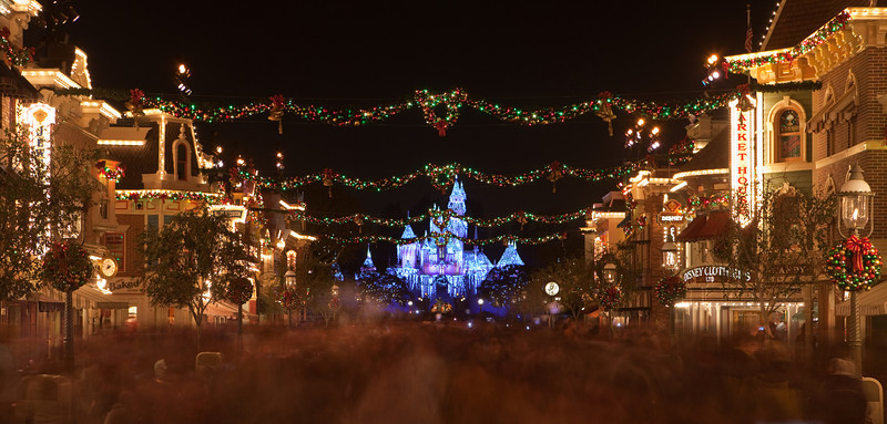 Main Street Disney with Sleeping Beauties Winter Castle in the background.