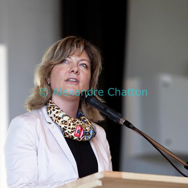 Dimanche 22 avril 2012: dans son discours, la présidente du Grand Conseil fribourgeois Gabrielle Bourguet se souvient avec émotion de la période bénie où elle avait le temps de chanter dans le choeur d'Attalens.