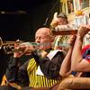 """Vendredi 20 avril 2012, Promasens, salle polyvalente: le spectacle intitulé """"L'coup du lapin"""" donné par la troupe du Cabaret d'Oron. Différentes formes de trompettes..."""