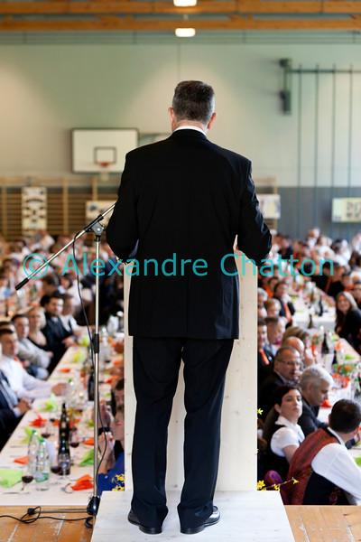 Dimanche 22 avril 2012, Georges Godel, président du Conseil d'Etat fribourgeois et président du comité d'organisation, s'adresse aux plus de 500 convives du banquet.