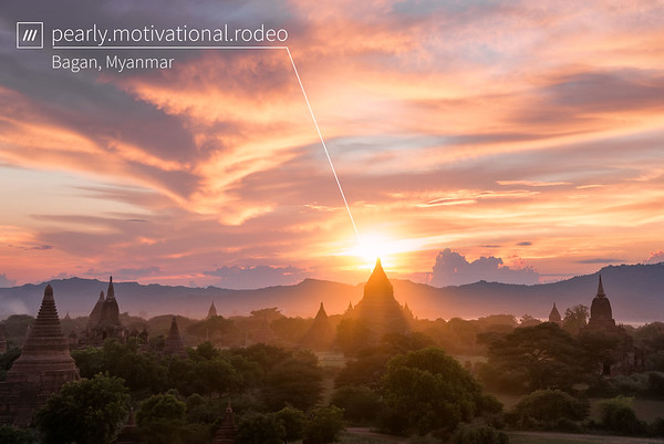 A photo of Bagan in Burma with a 3 word address superimposed on it.