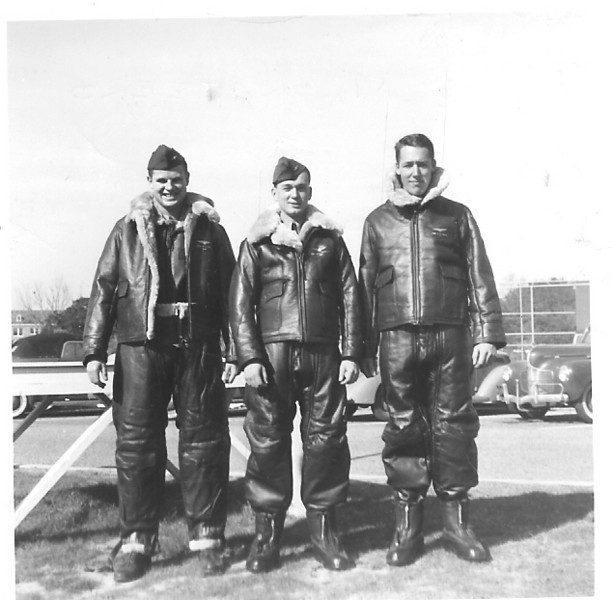 NAS Pensacola, FL - 1942 - Bill Kidd, Bill Prescott and Ted Cross in their flight gear.  Dad had written that Ted Cross lost his life while flying patrol in a Lockheed PV-2 off the eastern sea coast when a German sub surfaced, fired on Ted's PV-2 and shot him down.
