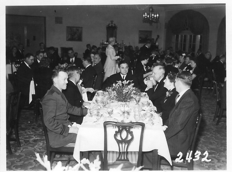 1944 - Lt. Prescott shown on the left front at a dinner party with Admiral Vickery.  Lt. Prescott was Admiral Vickery's pilot on a maritime commission jaunt across the country.