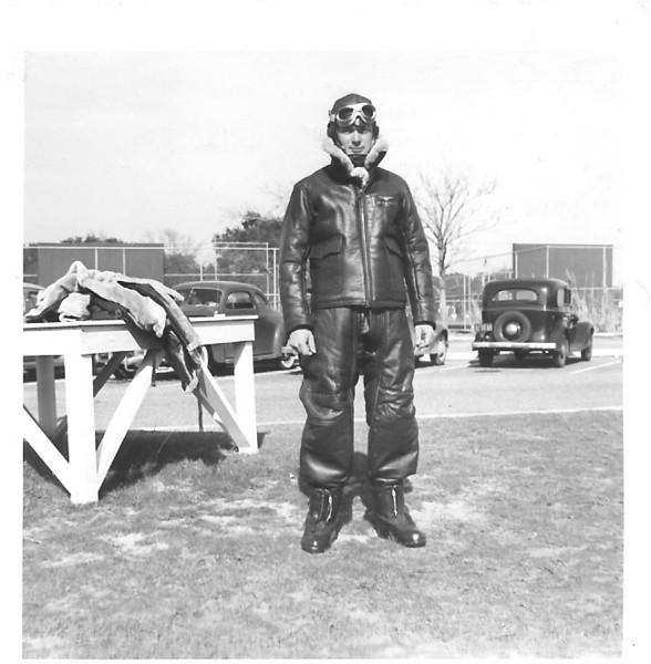 """NAS Pensacola, FL - 1942 - Bill Prescott wrote on the back of this photo """"This is what the student will see glowering at him from the back seat"""""""