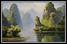 Image of painting on display at Guiin University Art Gallery. This shows what the Li River might look like on a clear day...