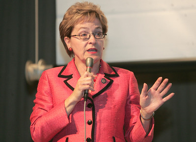 17OCT12 / Chuck Humel     Marcy Kaptur and Samuel Wurzelbacher debated at the CHIP Debate at St. Joe's Community Center.