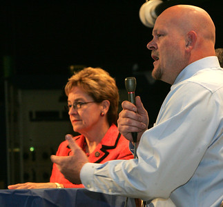 17OCT12 / Chuck Humel    Marcy Kaptur, left, and Samuel Wurzelbacher debate at the CHIP Debate at St. Joseph's Community Center.