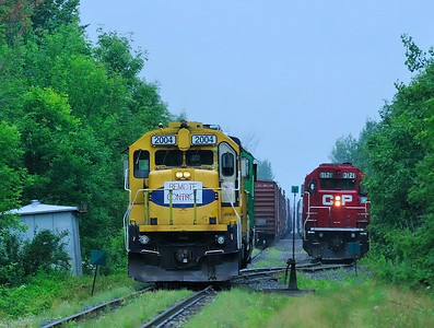 Central Maine & Quebec and Canadan Pacific interchanging at  Iberville Qc July 15 2014