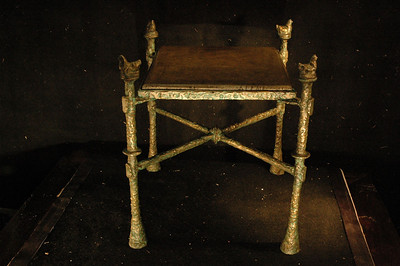 Pair of bronze side table with stone top. green patina on bronze, soap stone top. UK01ED02