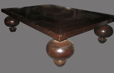 Bulbous coffee table. all dark reclaimed hardwood.