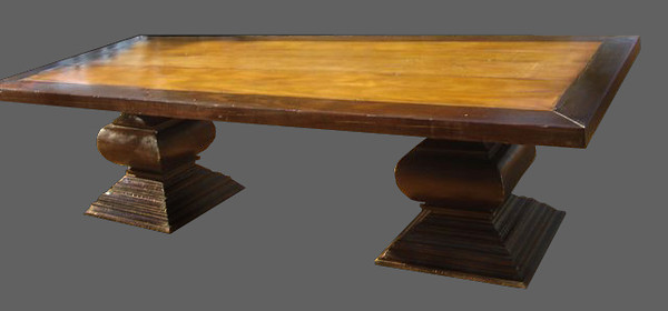 Monastery table double pedestal. Anitque exotic hardwoods, Brauna and Peroba do campo. 297 x 118 x 77cm UK01ZM10