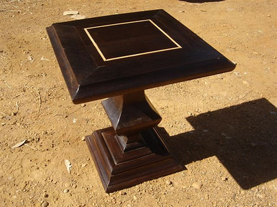 Side tables made from antique exotic hardwood. lighter wood inlay along the top. 53 x 53 x 61cm 66 x 66 x 61cm UK01ZM06a-b