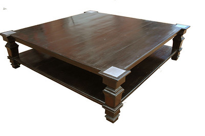 coffee table with pewter inlay, bottom shelf and protruding legs. Made form antique floor boards or dark canella an exotic hard wood. 72 x 72 x 201/8 inch 183 x 183 x 51cm UK01ZM03