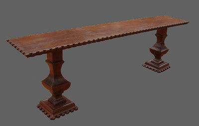 Joint console. Double pedestal and groves on all sides. original plant of antique wood had once been joined along two edges so we continue with the look instead of removing them. 285 x 50cm UK01ZM19