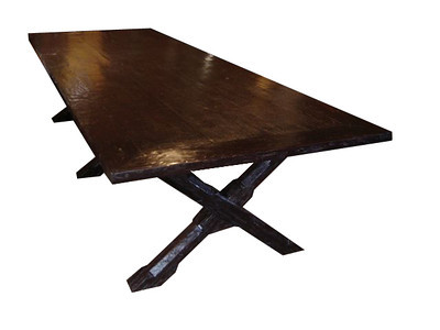 Refectory table, three x legs, dark canella antique exotic hardwood. UK01ZM09