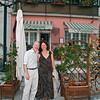 John and Adrienne in front of the Ristorante Venanzio in Colonnata.