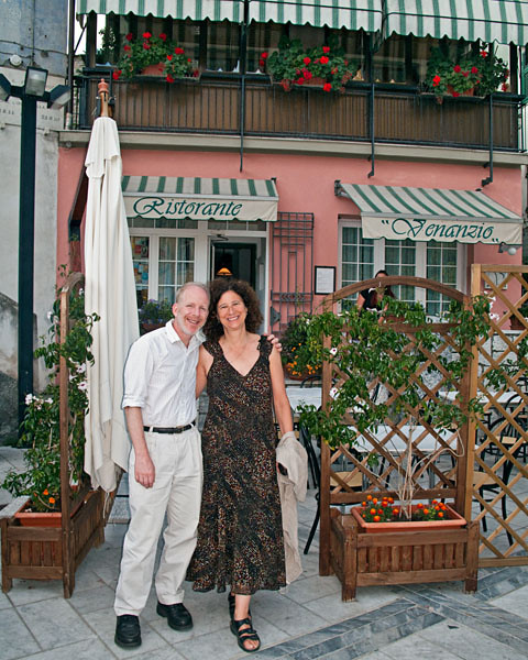 John and Adrienne in front of the Ristorante Venanzio in Colonnata.