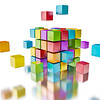 Business teamwork team collaboration brainstorm concept - colorful color cubes assembling into  cubi