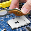 Electronic circuit board, processor installation, close up.