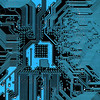Digitally Generated Image of blue computer circuitboard