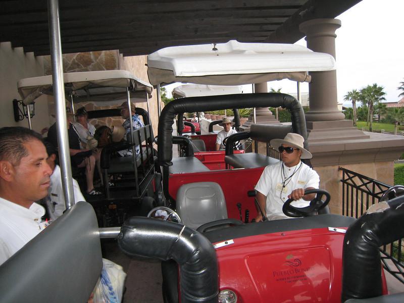 Traffic jam.  Carts were used to get around the massive resort.