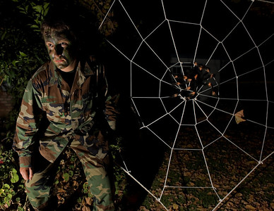 David's rope spiderweb and his very scarey Halloween getup (2008)