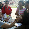 Red Cross volunteers distribute medicines and conduct medical check up among evacuees here in Loon, Bohol. (Armie Garde)