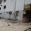 Debris fall from the building housing the Sunburst Restaurant along Legaspi Street in Cebu City after Tuesday's earthquake. (Januar Yap/Sun.Star)